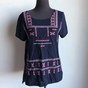 Lucky Brand sz S boho embroidered cotton blouse